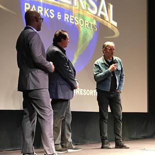"Cameron Bailey, Peter Farrelly and Viggo Mortnesen during Q&A after screening of  ""The Green Book"". Winter Garden Theatre. TIFF 2018."