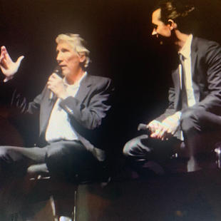 """Roger Waters, Sean Evans at world permiere of """"The Wall"""". Elgin Theatre. TIFF 2014."""