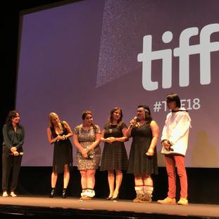 """Miranda de Pencier and cast at world premiere of """"The Grizzlies"""". Winter Garden Theatre. TIFF 2018."""