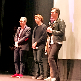"""Jim Carey, Spike Jonze, Chris Smith and Thom Powers at premiere of """"Jim and Andy"""". Winter Garden Theatre. TIFF 2017."""