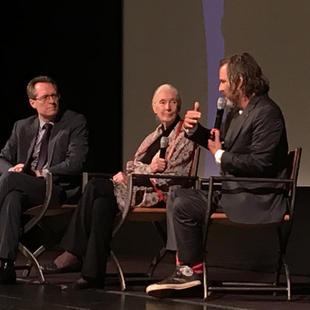 "Jane Goodall, Brett Morgan and Thom Powers at premiere of ""Jane"". Winter Garden Theatre. TIFF 2017."