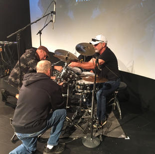 """Danny Seraphine (Drummer from the band Chicage) setting up before world premiere of """"The Terry Kath Experience"""". Danny Seraphine (Drummer from the band Chicago) setting up before live performance for the world premiere of """"The Terry Kath Experience"""". Winter Garden Theatre. TIFF 2018."""