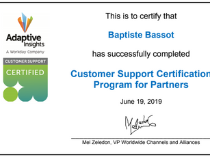 June 2019 Shearwater Adaptive Insights certifications