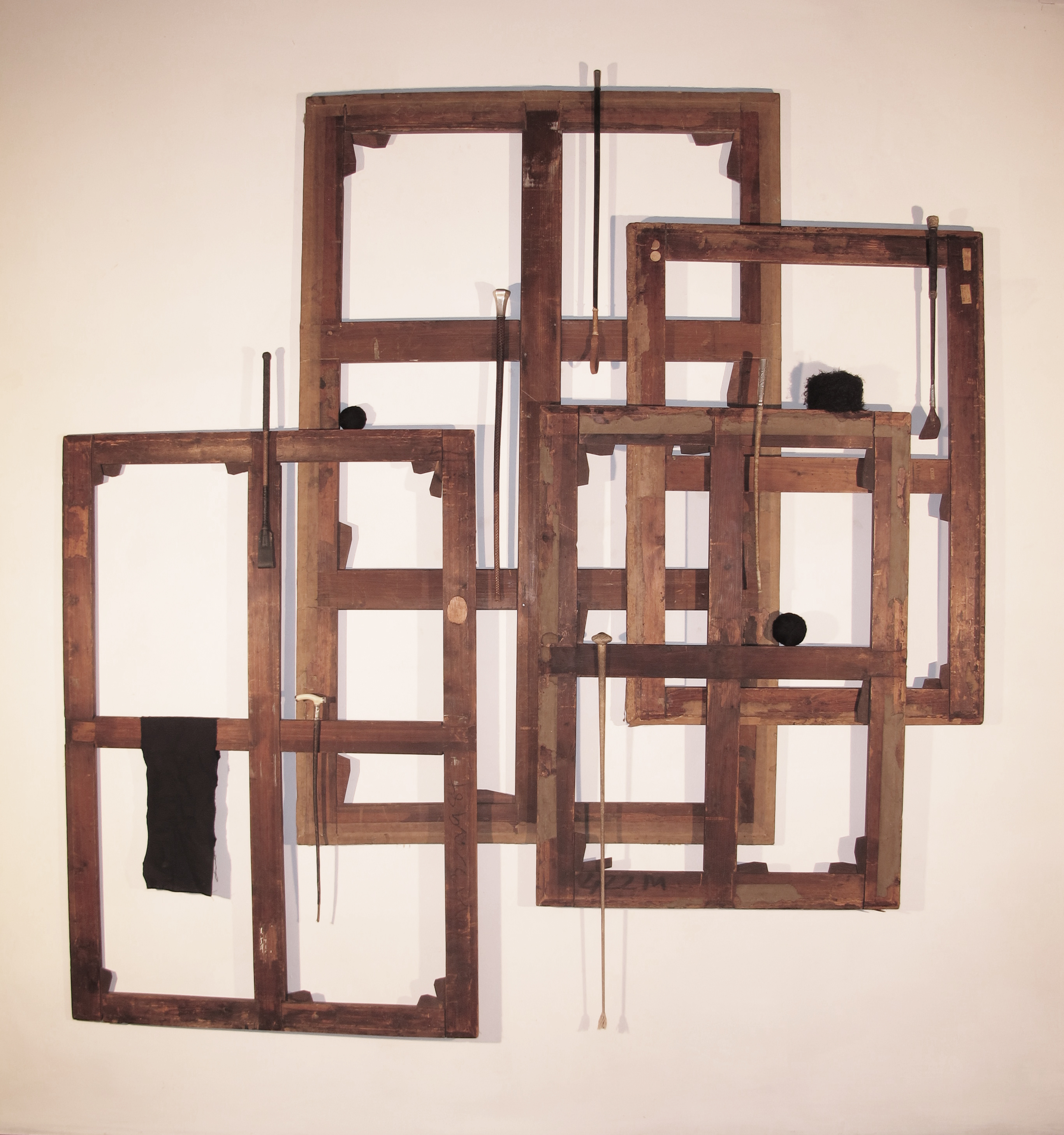 Maurizio Pellegrin, Shapes, 2014,81x79 inches, antique stretchers, crops, fabr