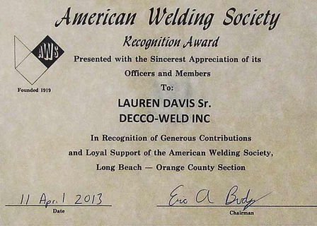 Recognition award from the American Welding Society