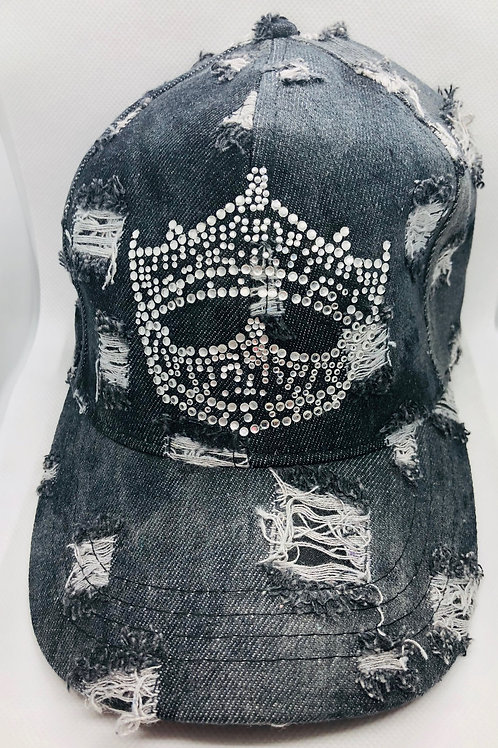 Black Distressed Denim Crown Cap