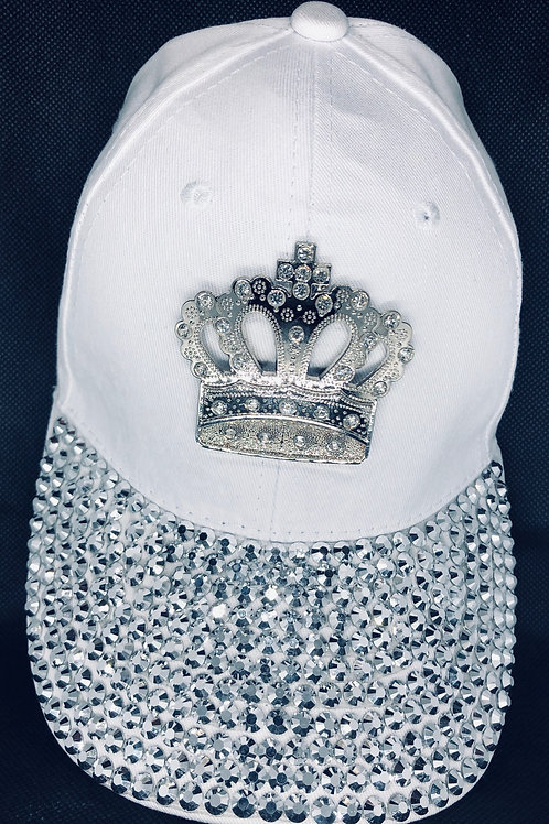 White Full Bling Crown Cap