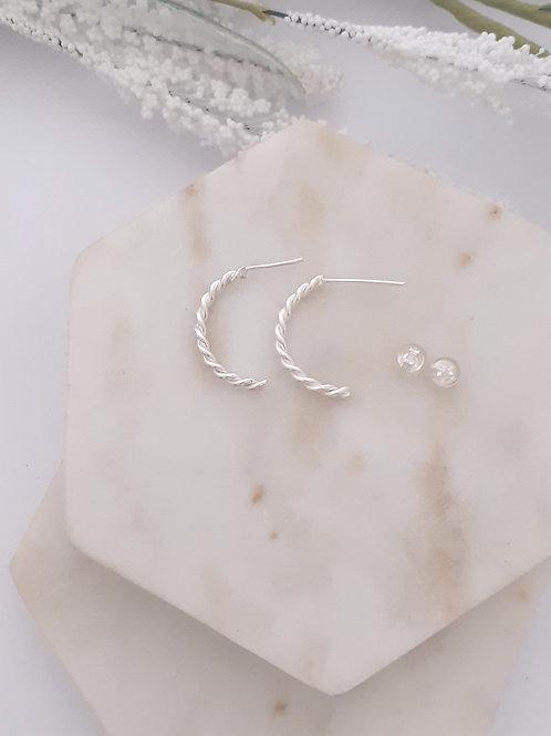 Entwined Long Hoop Earrings