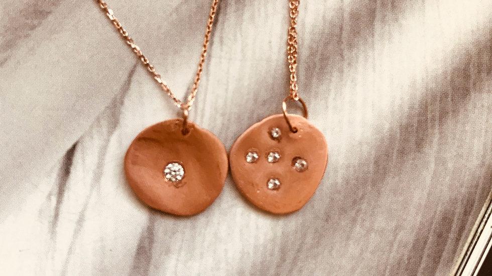 Large Gold Disc 5 Diamond Necklace