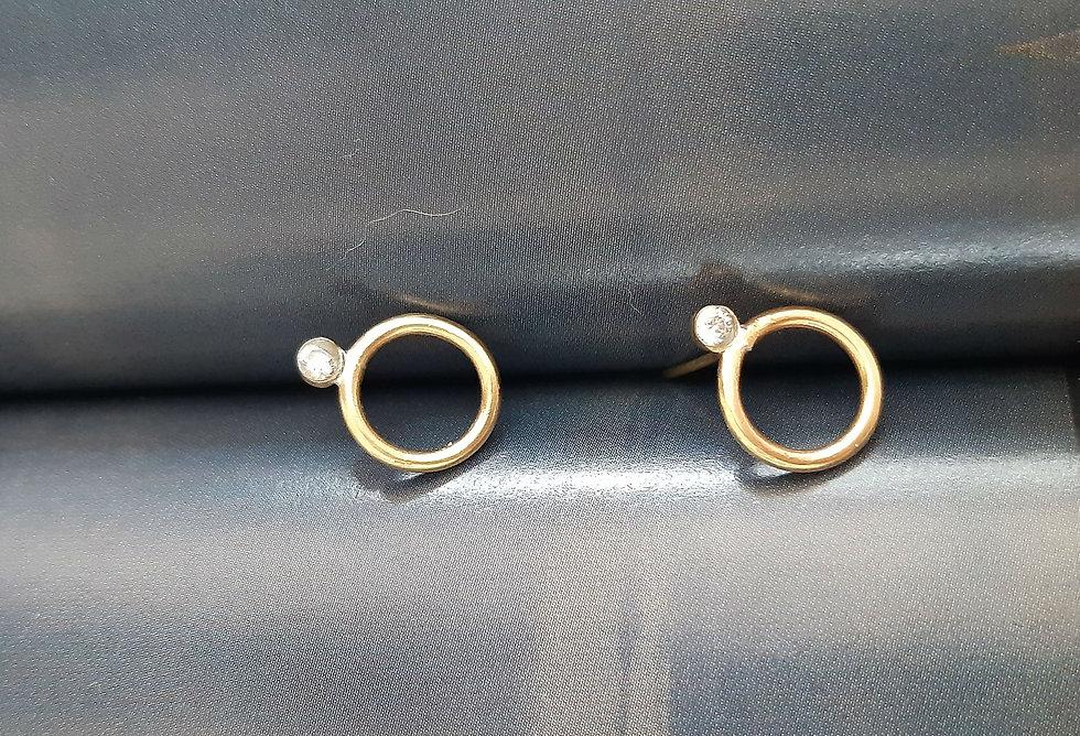 Rigel Single diamond top circle earrings