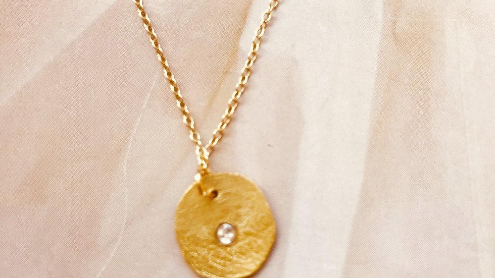 Large Gold Disc Diamond Necklace