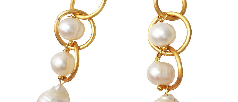 Eternity Gold Circle Drop Earrings with Baroque Pearls