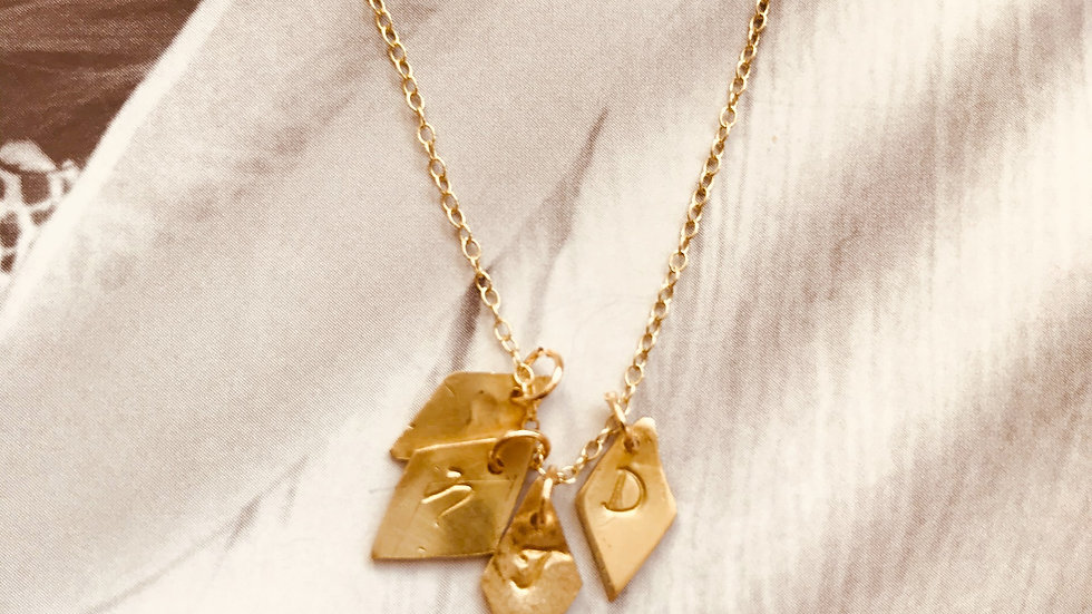 Small Gold Diamond Letter Necklace