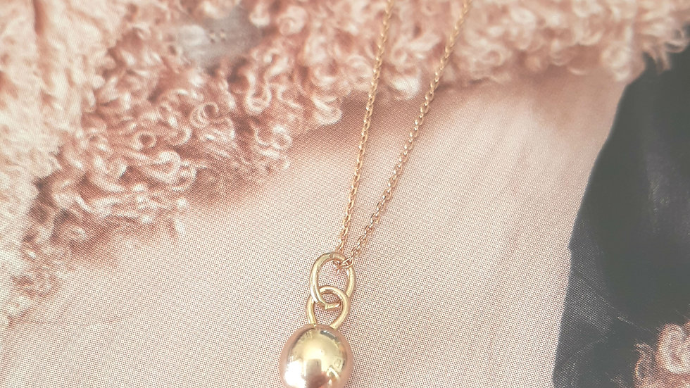 Solid Gold Ball Necklace