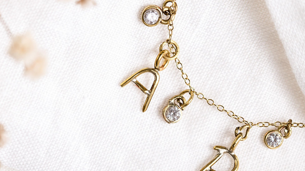 2 initials and 3 Diamond Necklace