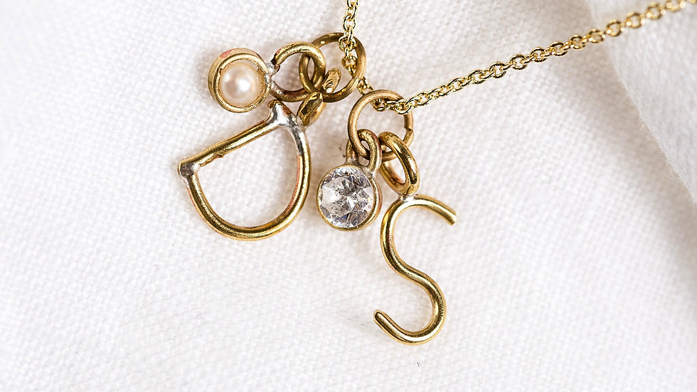 2 initials with a Pearl and Diamond Necklace