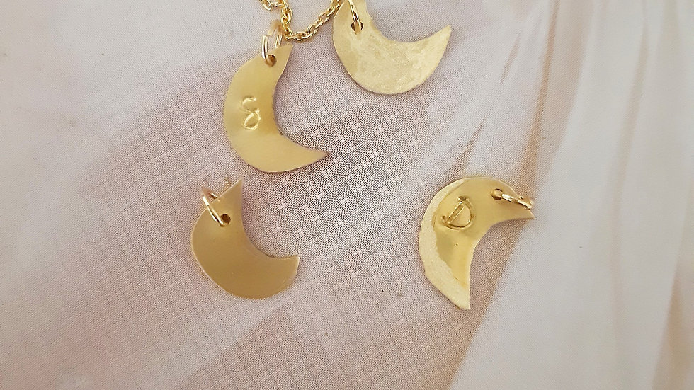 Small Gold Moon Letter Necklace