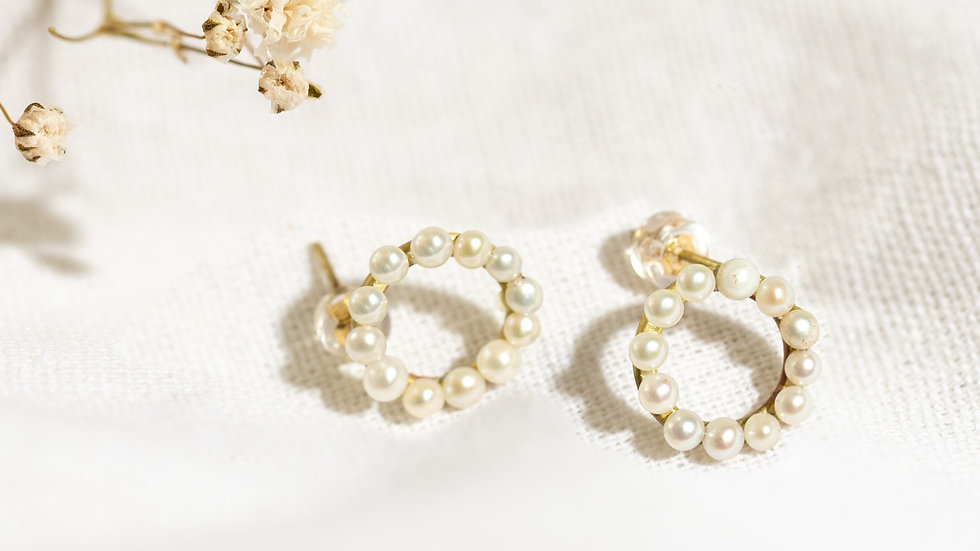 Large Karma Gold Circle Stud Earrings with Freshwater Pearls