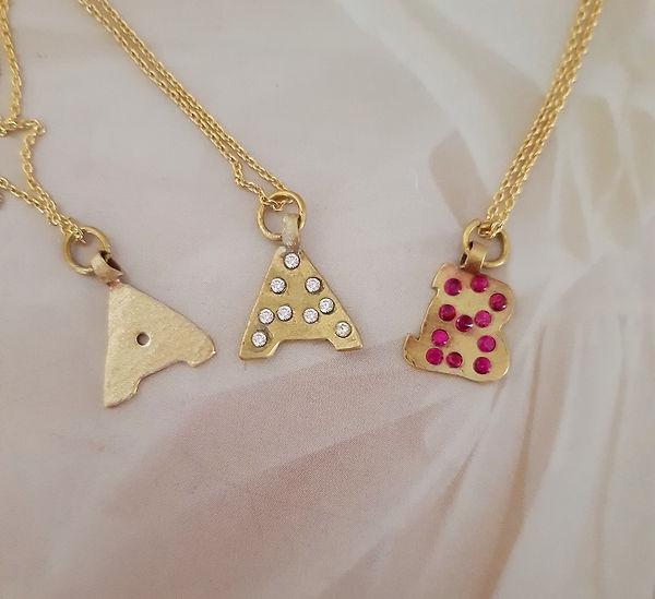 Alphabet letters  A plain, diamond and r