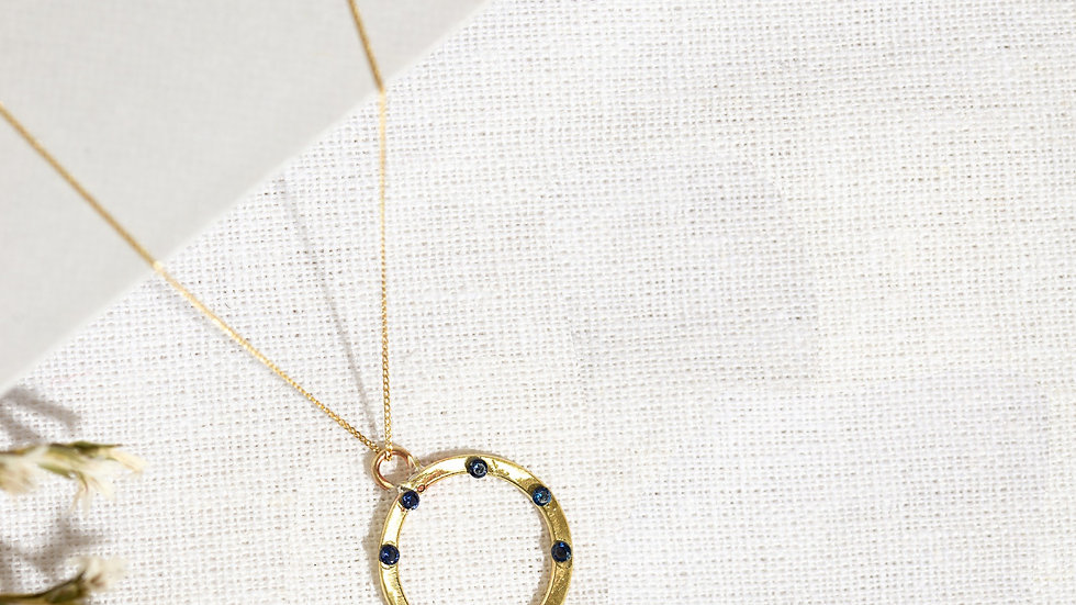 Large Gold Karma Necklace with Sapphires
