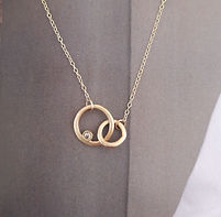 Serendipity with diamond on gold necklac