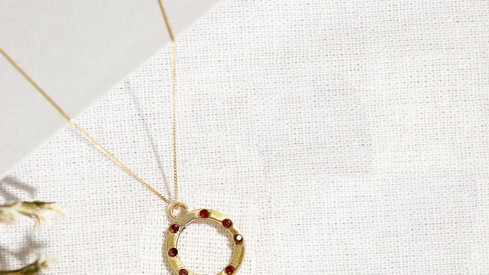 Small Gold Karma Necklace with Rubies