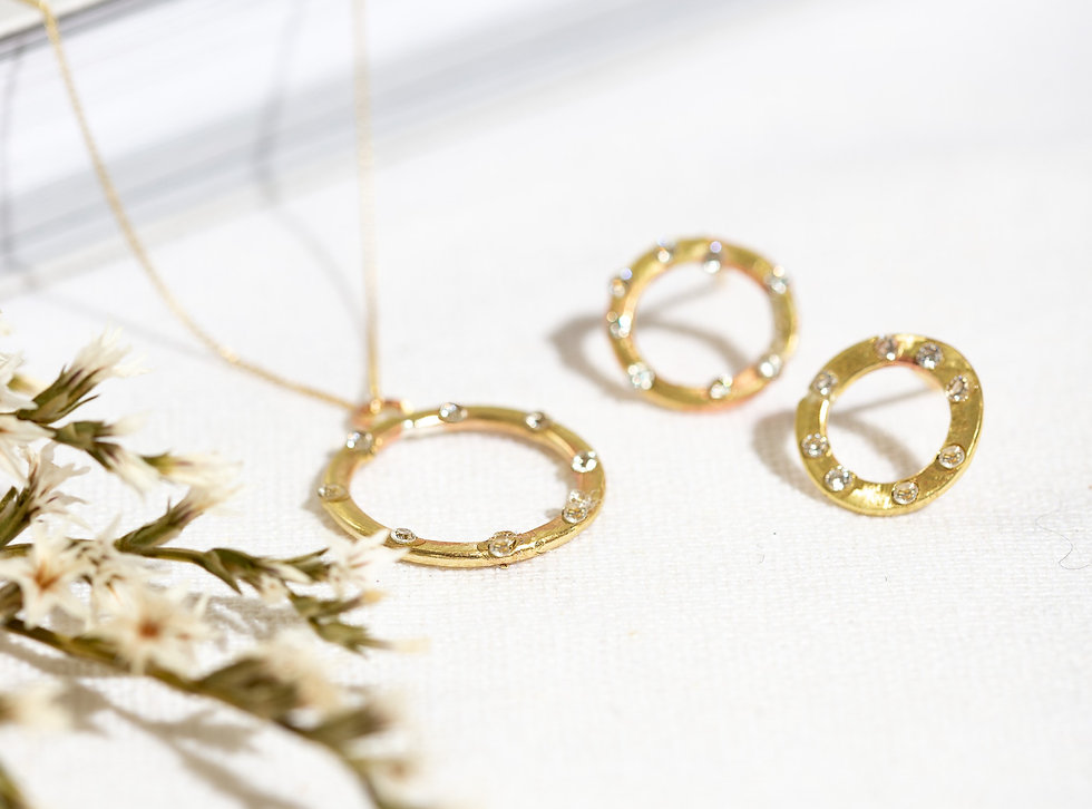 Karma yellow diamond earrings and neckla