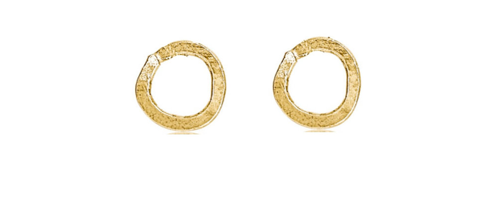 Solid Gold Circle Stud Earrings