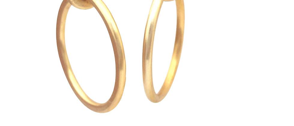 Serendipity Large Gold Circle Drop Earrings