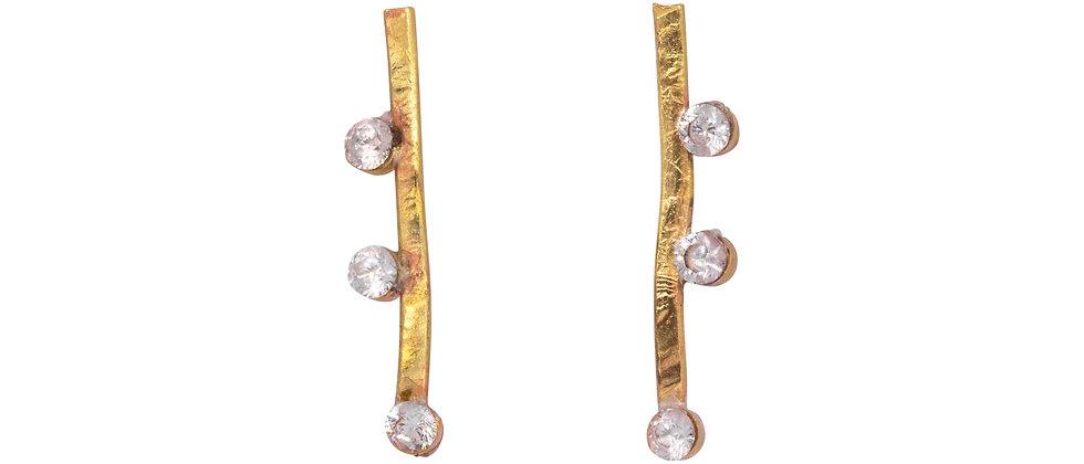 Capella Diamond Bar Stud Earrings