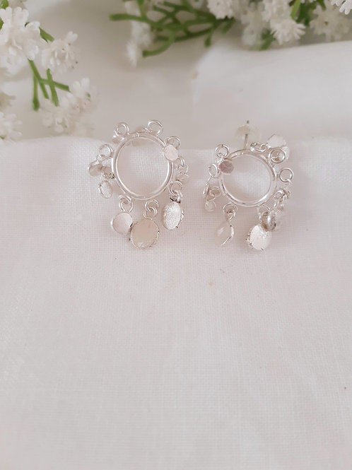 Small Huggie Hoop Earrings with discs all around