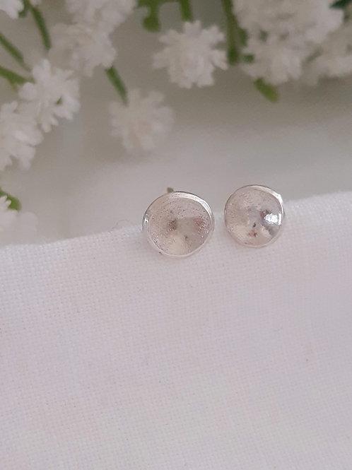 Titan Silver Concave Stud Earrings