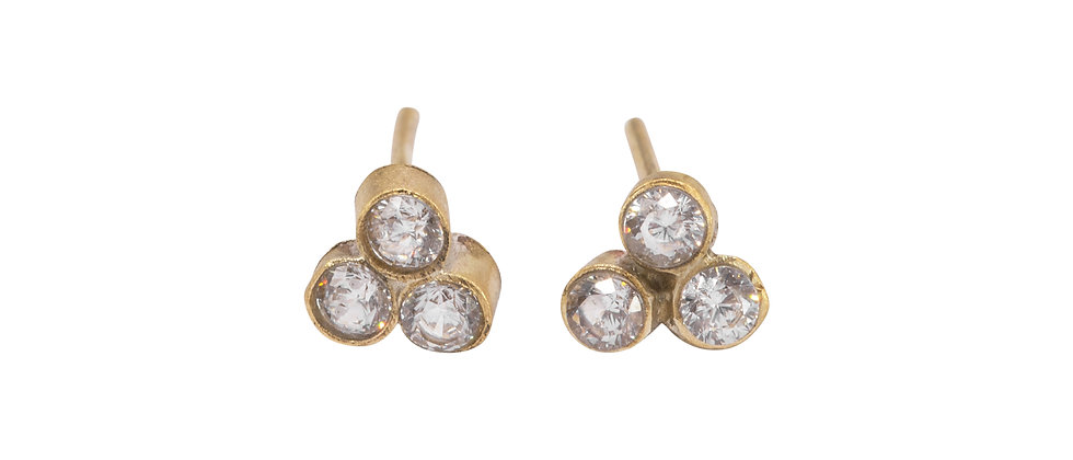 Adhara 3 Cluster Diamond Stud Earrings