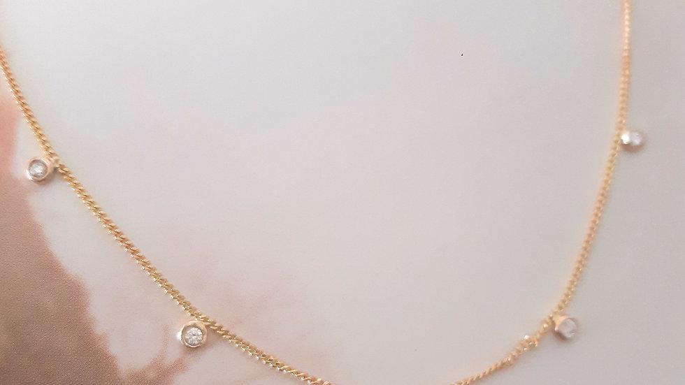 Diamond Necklace with 5 Diamonds