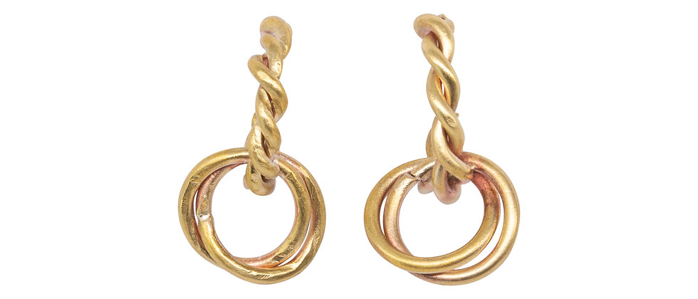 Entwined Stem with 2 Circles Earrings