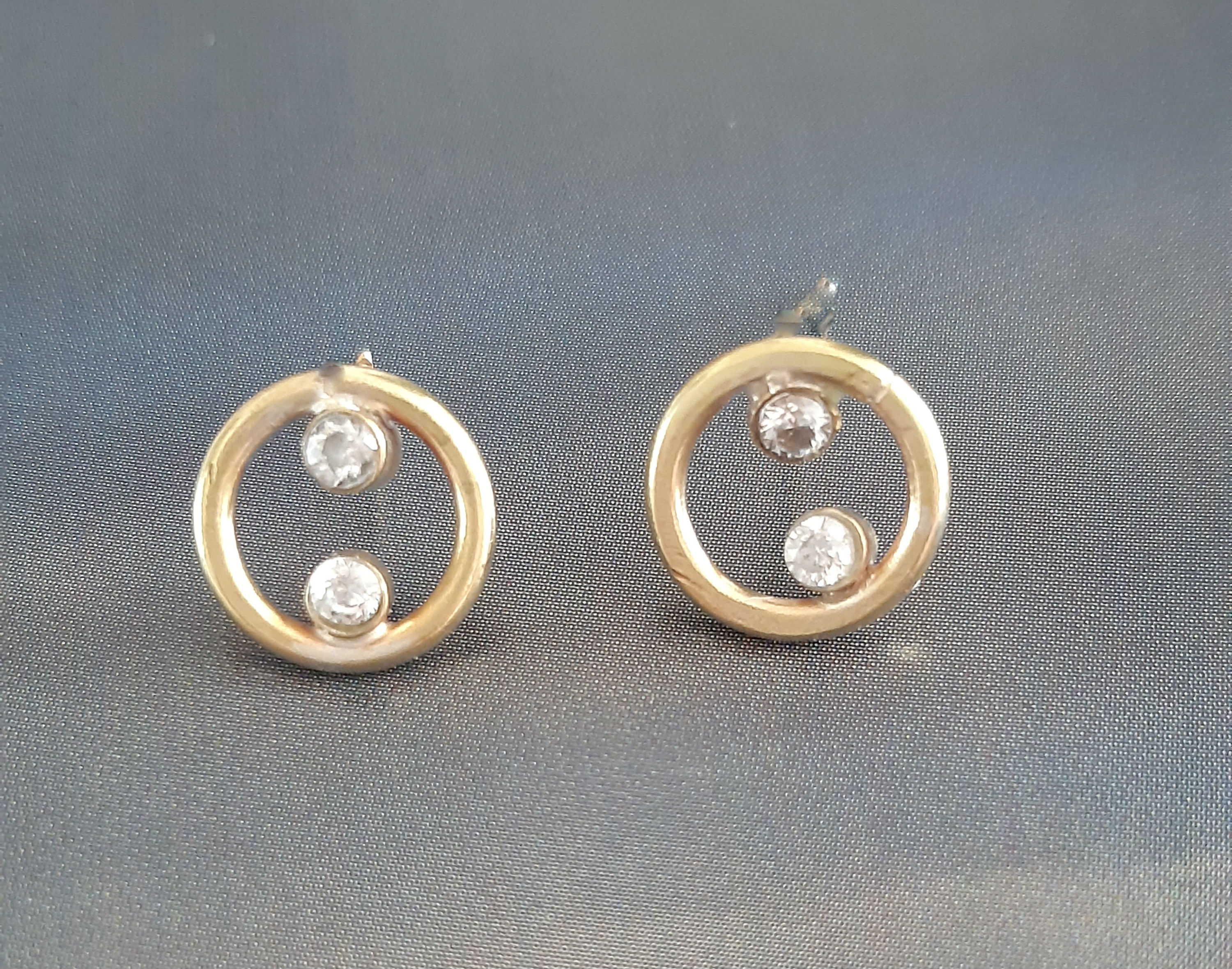 Castor small circle earrings with 2 diam