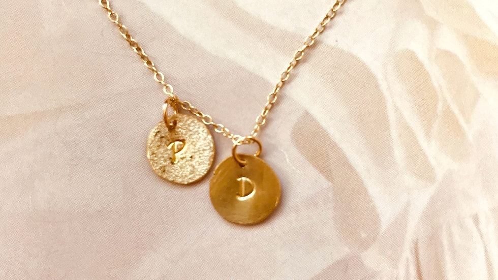 Small Gold Disc Letter Necklace