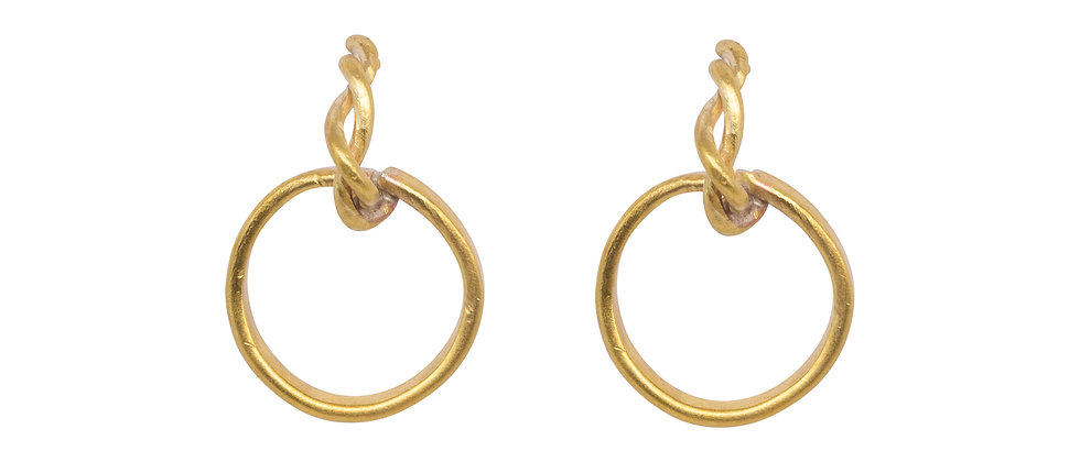 Entwined Stem with Large Circles Earrings