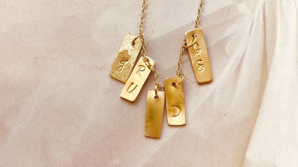 Small Gold Tag Letter Necklace