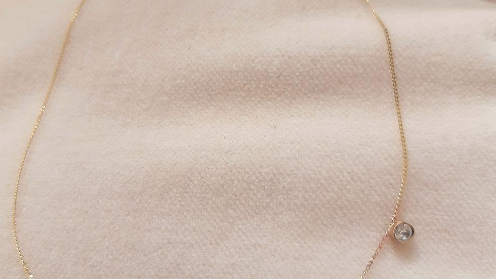 Sideways set Diamond Bezel Set Solitaire Necklace