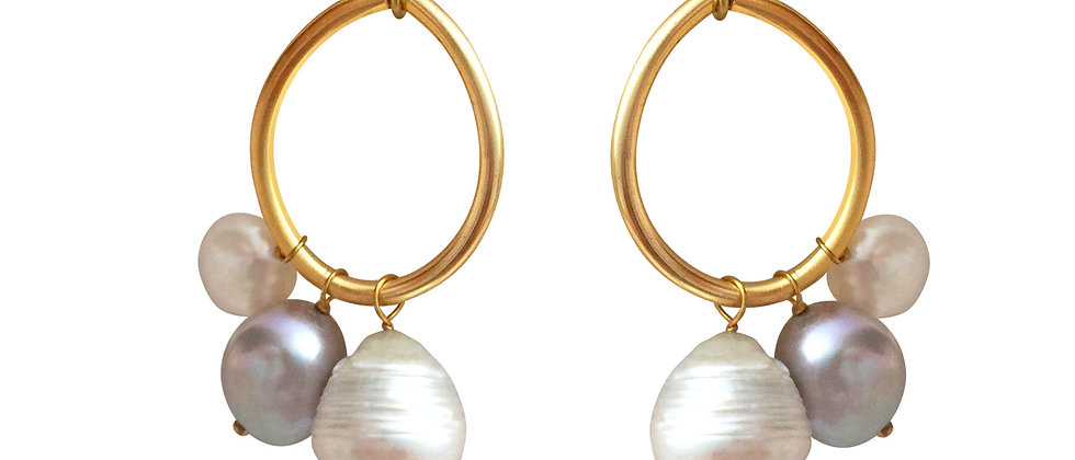 Large Karma Earrings with White Baroque and Freshwater Pearls