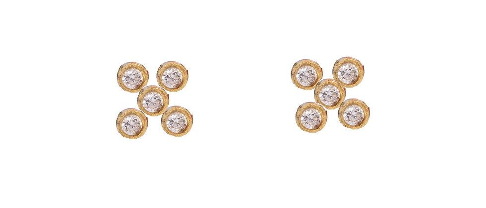 Adhara 5 Cluster Diamond Stud Earrings