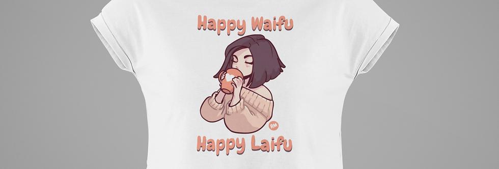 Happy Waifu Happy Laifu Crop Tee