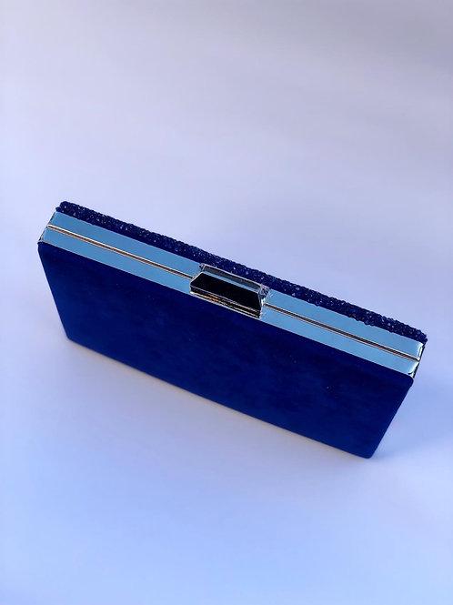 Saks mavisi önü taş işlemeli abiye çanta