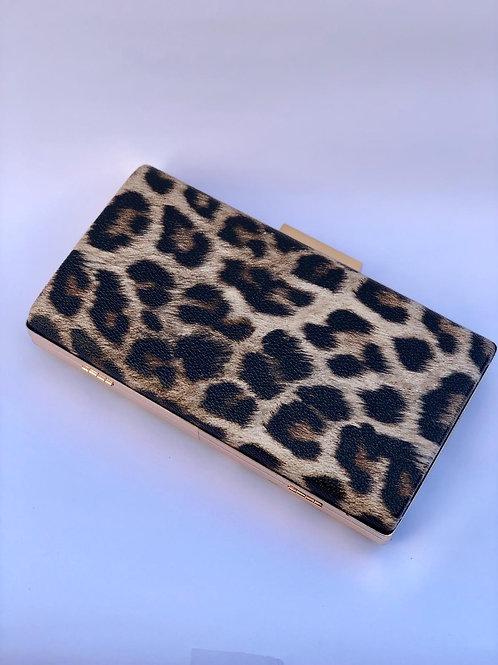 Çift tarafı leopar desenli gece çantası