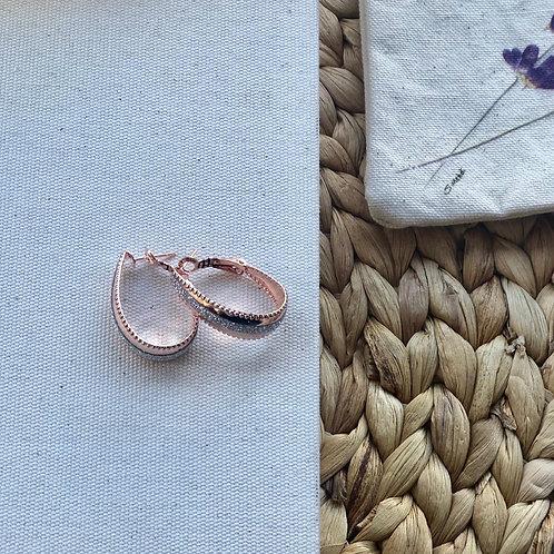 Simli rose renk oval küpe