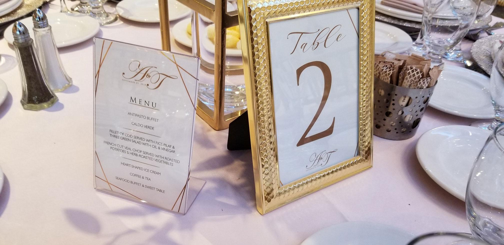 Table Numbers & Menu