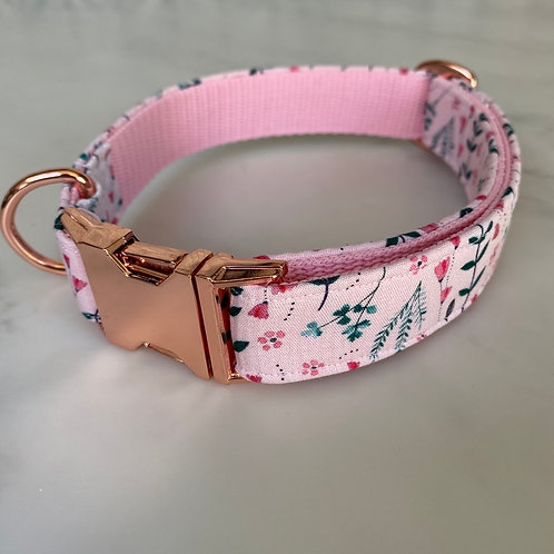 Hunter & co. Floral Soft Pink Rose Gold Dog Collar