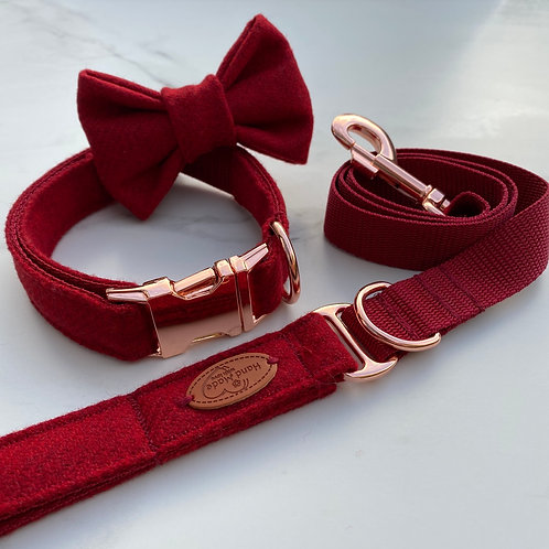SOLD OUT Hunter & Co. Red Tweed Dog Collar, Bow & Lead Set