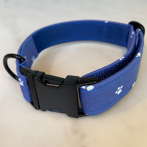 Hunter & co Blue Paw Print Matte Black Dog Collar